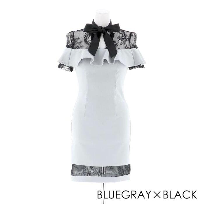 キャバドレスミニキャバドレスワンピースナイトドレス大きいサイズバイカラーフリルタイトミニドレスSMLピンク黒ベージュ透けリボンフレア袖杉山佳那恵レディース女性dazzyQueendazzystoreデイジーストア袖付きあす楽