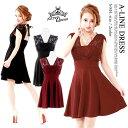 キャバ ドレス キャバドレス ワンピース ナイトドレス 大きいサイズ バックテープ リボン レース フレア ミニドレス S…