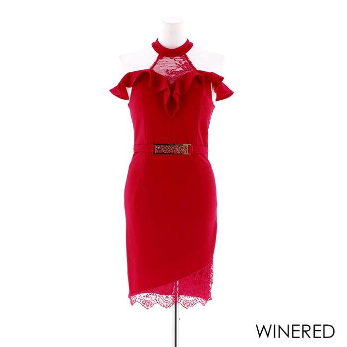 キャバドレスキャバドレスワンピースナイトドレス大きいサイズアメスリフリルタイトミニドレスSML黒赤デコルテレース透けシンプル無地バックル杉山佳那恵レディース女性dazzyQueendazzystoreデイジーストア