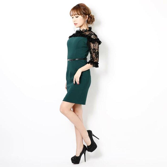 キャバドレスキャバドレスワンピースナイトドレス大きいサイズハイネックタイトミニドレスSML緑ベルトデコルテレース透け杉山佳那恵レディース女性dazzyQueendazzystoreデイジーストア袖付き五分袖レース袖あす楽
