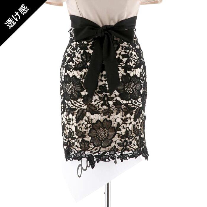 キャバドレスキャバドレスワンピースナイトドレス大きいサイズバイカラー刺繍レースタイトミニドレスSMLベージュ黒赤ウエストリボンフリル杉山佳那恵レディース女性dazzyQueendazzystoreデイジーストアオフショルあす楽