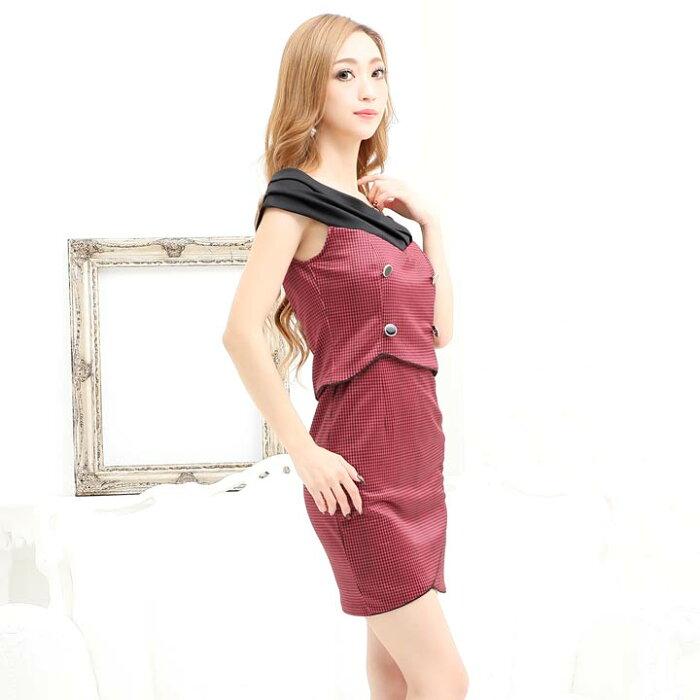 キャバドレスミニキャバドレスワンピースナイトドレス大きいサイズ千鳥柄タイトミニドレスSML黒赤ボタン総柄ハイウエスト優姫ゆいなレディース女性dazzyQueendazzystoreオフショル