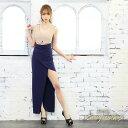 【数量限定SALE/CC】 キャバ ドレス ウエスト カット バイカラー タイト ロング ドレス [change clothes]| ドレス ワ…