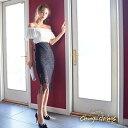 【送料無料】 キャバ ドレス ウエスト カット オフショル バイカラー タイト 膝丈 ドレス [changeclothes]| キャバ キ…
