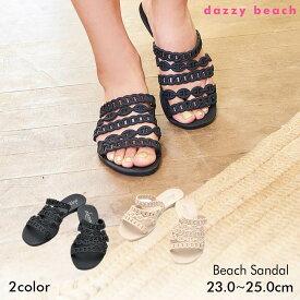 【数量限定SALE】 サンダル 靴 レディース ビーサン 大きいサイズ ワンカラーシンプルチェーン風フラットサンダル 黒 ベージュ 36 37 38 39 40 ぺたんこ dazzybeach デイジーストア