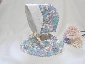 【BabyRito】ボンネット&まんまるスタイセット 花柄 リバーシブル 帽子 おしゃれ ベビー服 女の子服 かわいい