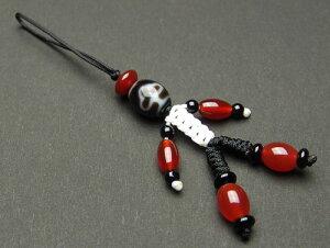 至純 菩提天珠 約12mm ストラップ 【黒色紐・手足は赤メノウ 1041-12-530-901】天珠 携帯ストラップ パワーストーン 天然石