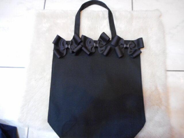 リボンバッグ トートバッグ ブラック 黒 お受験 お稽古 サブバッグ フォーマル レディース かわいい 布バッグ 軽量 折り畳み
