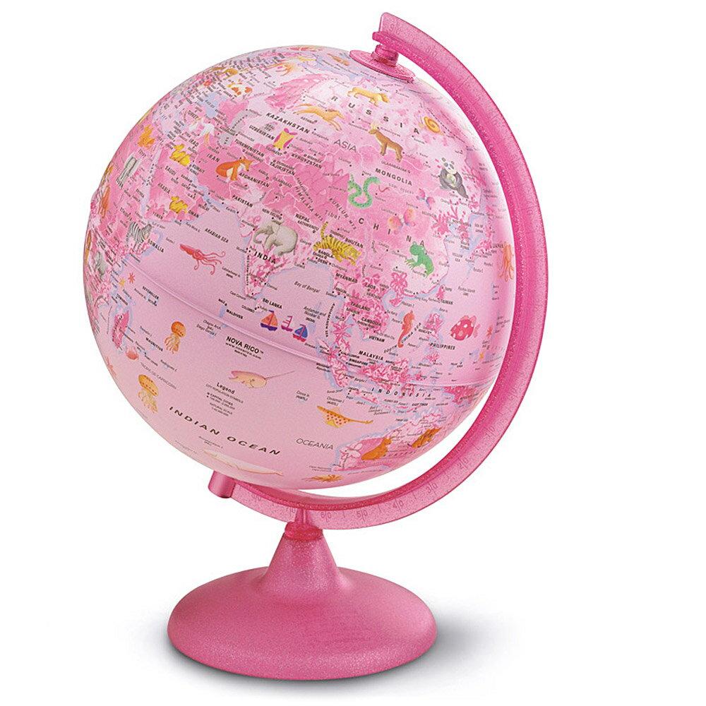 地球儀 子供用 インテリア 25cm ピンクZOO 英語 イラスト付 アニマル 入学祝い 小学校 動物 女の子 かわいい イタリア製