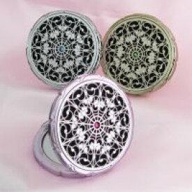 コンパクトミラー 拡大鏡 メイク 2倍 キラキラ 姫系 デコラティブ スワロフスキー [鏡] メイク用鏡 老眼