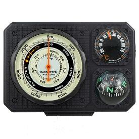 コンパス 方位磁石 高度計 気圧計 温度計 トラベルエイド 6 in 1 オイルコンパス 登山 トレッキング 釣り ドライブ 方位磁針 ベルト 携帯