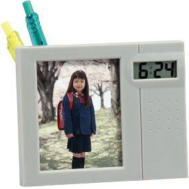 【お買い物マラソン クーポン配布中】 フォトクロック 写真立て フォトフレーム ペン立て 時計