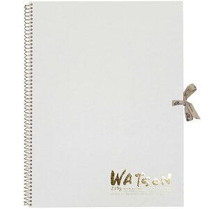 ミューズ 高級水彩紙 ホワイトワトソンブック 中性紙 HW-2404 F4 スケッチ ブック 画材 美術 写生 ノート デザイン イラスト 工作 図工
