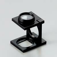 虫眼鏡 リネンテスター 7522 9倍 15mm ダブルレンズ ブラック ミリ&インチメモリ 測量,検査用ルーペ 日本製 池田レンズ