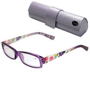 老眼鏡 花柄 607PU パープル リーディンググラス シニアグラス 女性 おしゃれ