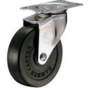 プレート式ステンレス金具キャスター ゴム車 ハンマー Eシリーズオールステンレス 旋回式ゴム車輪 75mm [320E-R75-BAR01] 販売単位:1