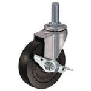 ねじ込み式ゴムキャスター ハンマー ねじ込み旋回式ゴム車輪 100mm ストッパー付 [415EA-R100-BAR01] 販売単位:1