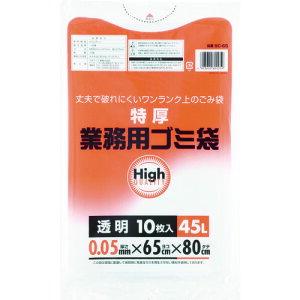 ゴミ袋 ワタナベ 業務用ポリ袋45L 特厚 透明 (10枚入) [5C-65] 販売単位:1
