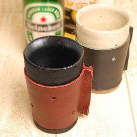 本革 日本製 レザー 湯のみ 湯呑み コップ カバー 陶器と革の職人が作ったタンブラー 水玉デザイン【LH-7247】