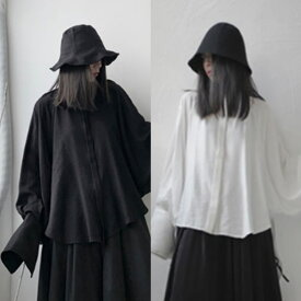 【Verlorene Welt】ロングテール ドレープデザイン バンドカラーシャツ ロングシャツ モード系 黒 白 ブラック ホワイト ユニセックス メンズ レディース 無地 ゆったり 大きいサイズ ドルマンシャツ オーバーサイズ 【お支払い後20日以内に発送】