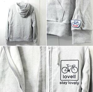 [lovell/ラベル]自転車柄プリントスウェットフルジップパーカフードグレー83159-83199