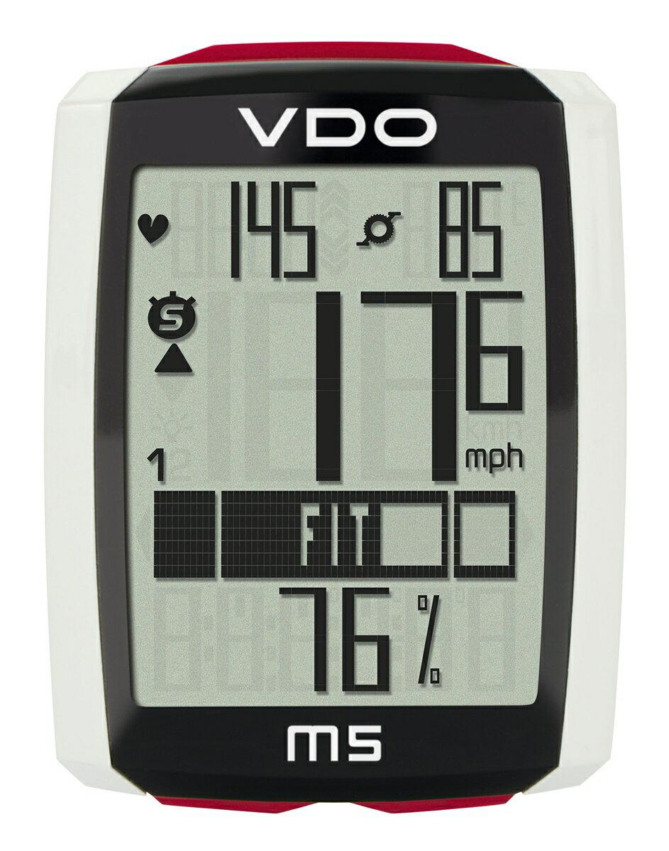 VDO(バーディオー) M5WL デジタルワイヤレス通信 ドイツブランド サイクルコンピューター 大画面表示 スピード+時間+距離+温度計+心拍数+カロリー消費+ケイデンス+バックライト機能付 ポルシェやメルセデス