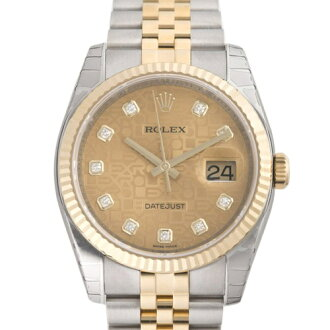 ROLEX Rolex date just 116233G champagne gold computer men