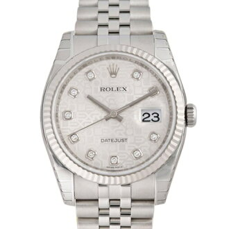 ROLEX Rolex date just 116234G silver computer men
