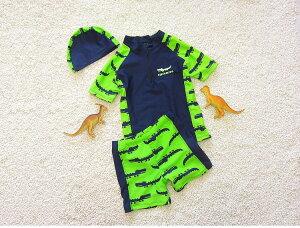 子供水着 男の子 送料無料 キッズ水着 恐竜 幼稚園  水着上下+帽子 3点セット キッズ 男児