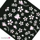 【メール便可】ネイルシール桜×蝶々1枚入/ネイルアートジェルネイルサクラちょうちょ花華フラワーさくら貼るだけ春ネイル♪