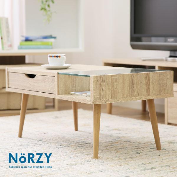 テーブル センターテーブル ローテーブル オーク調 収納 シンプル ガラス カフェ 家具