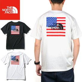 """【SALE】THE NORTH FACE ザ ノースフェイス NT32053""""S/S NATIONAL FLAG TEE""""ショートスリーブ ナショナル フラッグ ティー Tシャツ スクエア ロゴ アメリカ 星条旗 半袖 トップス アウトドア メンズ レディース 2カラー 国内正規 20%OFF"""