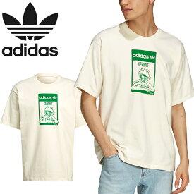 アディダス オリジナルス adidas Originals GQ4152 STAN SMITH KERMIT TEE スタンスミス カーミット Tシャツ DISNEY ディズニー コラボ セサミストリート トレフォイル 三つ葉 メンズ レディース ユニセックス 生成り 半袖 ノンダイト 国内正規 2021SS