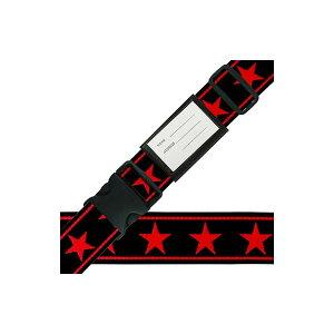 【同梱・代引き不可】 スーツケースベルト ワンタッチベルト ビッグスター柄 黒×赤