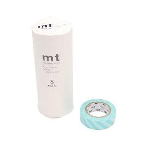 mt マスキングテープ 8P ストライプ・ミントブルー MT08D373