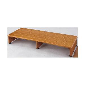 収納付き 玄関台/踏み台 【幅90cm】 木製 アジャスター付き 木目調 【完成品】【代引不可】