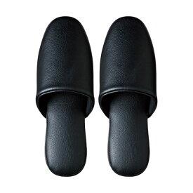 (まとめ) TANOSEE 最高級レザー調スリッパ ブラック 1足 【×5セット】