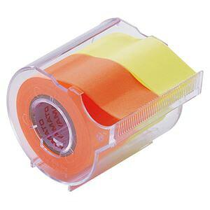 (まとめ) ヤマト メモック ロールテープ カッター付 25mm幅 レモン&オレンジ NORK-25CH-6C 1個 【×15セット】