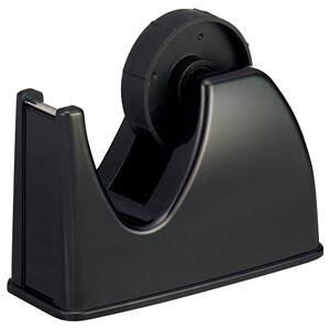 (まとめ) TANOSEE テープカッター台 大巻・小巻両用 黒 1台 【×15セット】