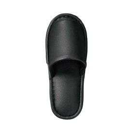 (まとめ) TANOSEE 最高級レザー調スリッパ 外縫い 大人用 ブラック 1足 【×5セット】