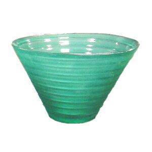 【8個入り】ガラス製コンポート/花器 【グリーン】 直径15cm×高さ9.5cm 穴無 『ピラミッド15』 〔園芸 ガーデニング用品〕