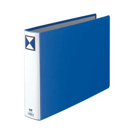 (まとめ) TANOSEE 両開きパイプ式ファイル B4ヨコ 500枚収容 背幅66mm 青 1冊 【×5セット】