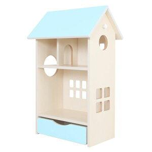 ドールハウス型 収納棚 【スカイブルー】 幅54cm 日本製 キャスター付き フック付き 『ドールハウスシェルフ』 【完成品】【代引不可】