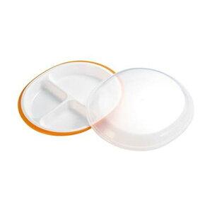 (まとめ)小森樹脂 フタ付ランチプレート「楽弁」丸型 オレンジ 1個【×10セット】