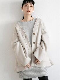 [Rakuten Fashion]TRノーカラージャケット LOWRYS FARM ローリーズファーム コート/ジャケット ノーカラージャケット ベージュ ブラウン ブルー【送料無料】