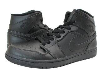 NIKE AIR JORDAN1 MID耐克空气乔丹1中间BLACK/BLACK人运动鞋