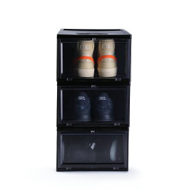 KICKS LAB. SHOE STORAGE BOX シューズケース 収納ボックス クリアケース 靴収納 キックスラボ シューストレージ ボックス 3BOXセット 3 BOX SET BLACK