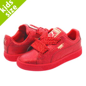 【キッズサイズ】【17.0〜21.0cm】 PUMA BASKET HEART HOLIDAY GLAMOUR PS RIBBON RED/ROSE GOLD 367631-01
