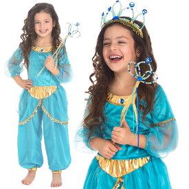 【子供用プリンセスドレス】【衣装】<アラビアン・プリンセス ブルー>【ハロウィン クリスマス 衣装 仮装 子供ドレス コスチューム プリンセス 女の子】【HLS_DU】【コスプレ キッズ サテン アラジンとまほうのランプ プリンセス 子供ドレス Jasmine aladdin】