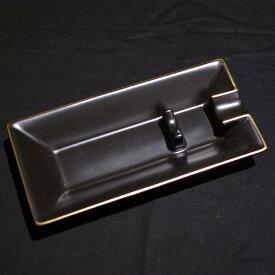 葉巻用灰皿 1本用 黒 陶器[2151][箱付](102151)